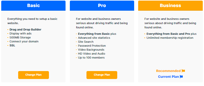 Weebly Downgrade - Choose Plan