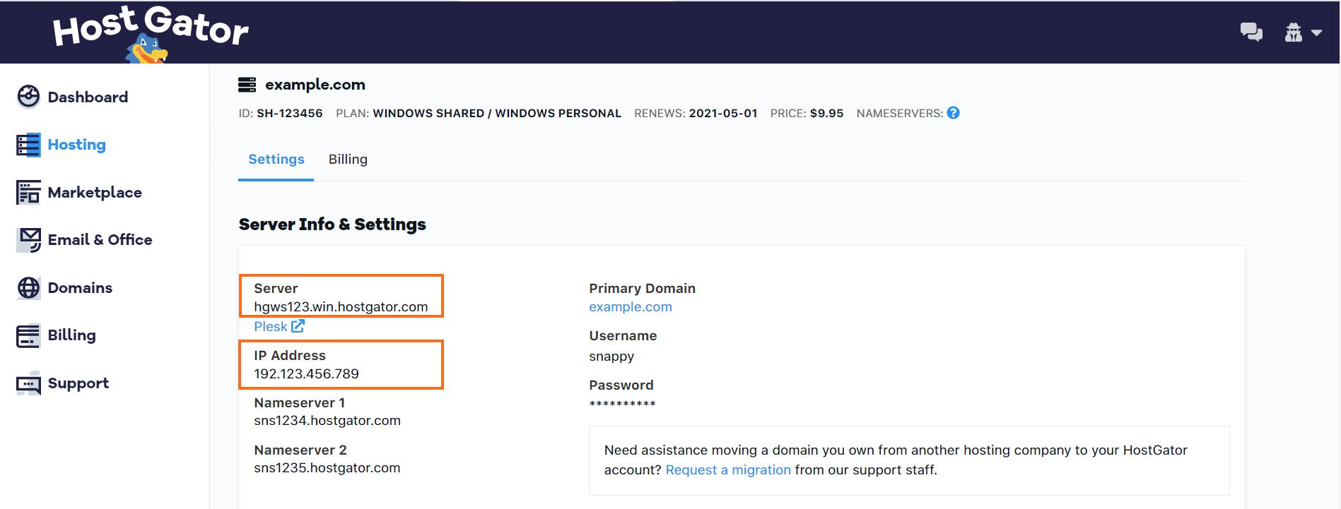 Customer Portal - Windows Hosting - Server Details