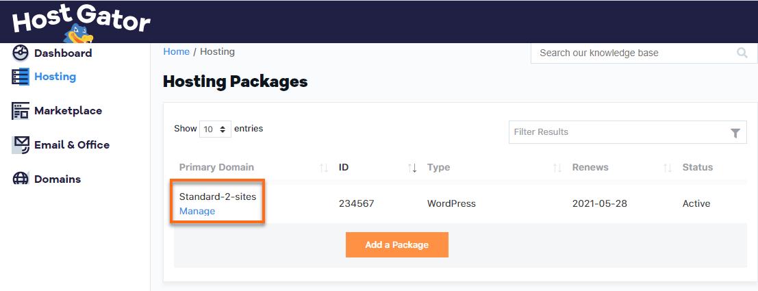 Hostogator Wordpress Manage Plan Section