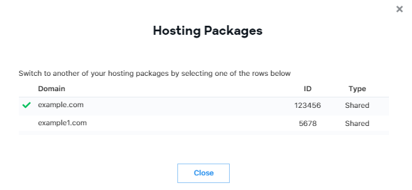 Switch between hosting plans