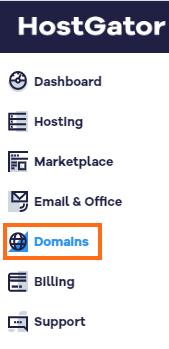 HostGator Customer Portal - Domains Selected in Menu