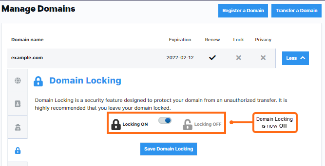 Domai locking turned off
