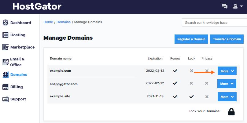 HostGator Customer Portal Edit Domain