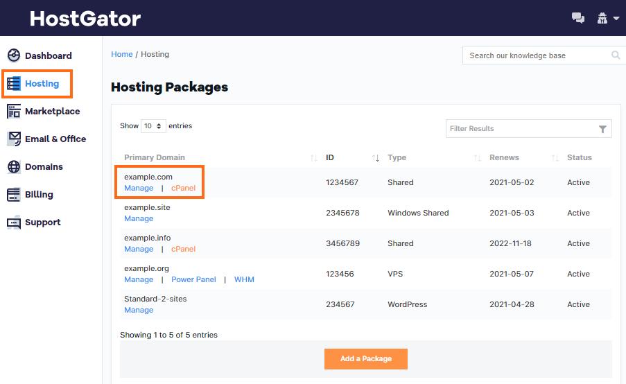 HostGator Customer Portal Hosting Section