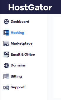 Billing Portal Menu with Hosting Selected