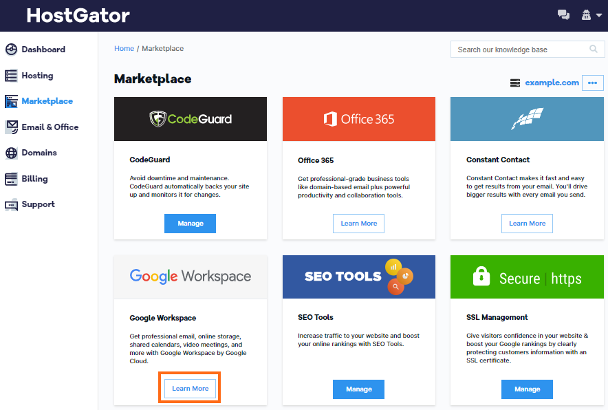 HostGator Marketplace Dashboard