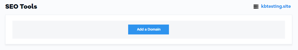 SEO Tools Add a Domain Button