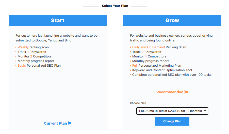 Select Change Plan Button to Upgrade or Downgrade the SEO Tools