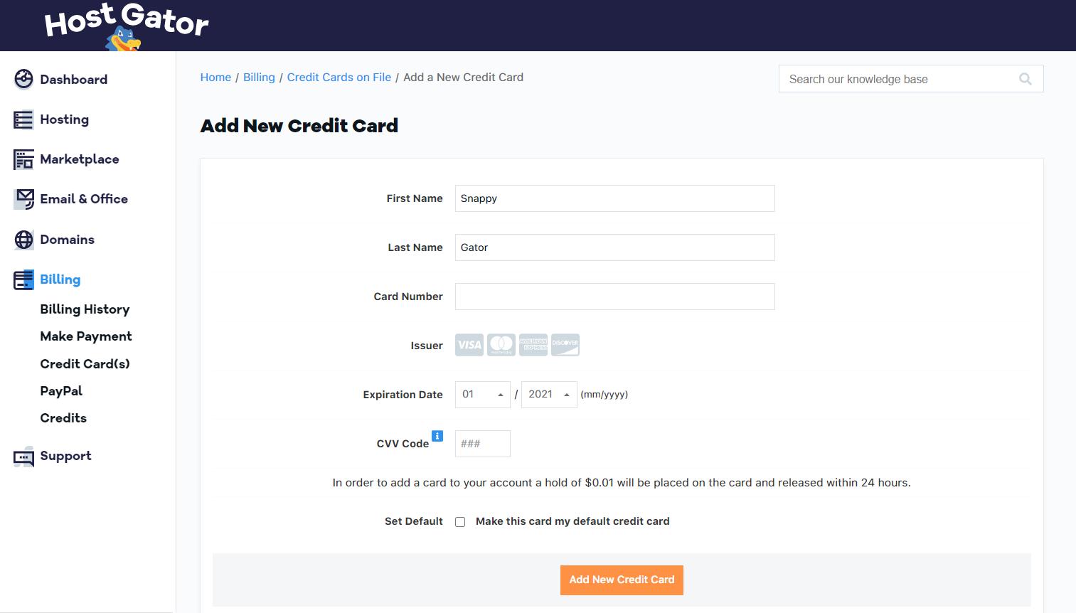 Billing Portal - Manage Credit Cards | HostGator Support