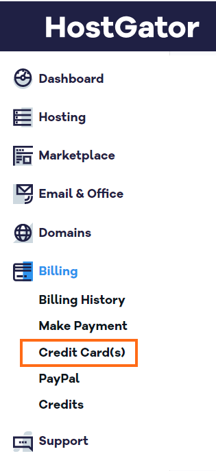 HostGator Customer Portal Billing Section