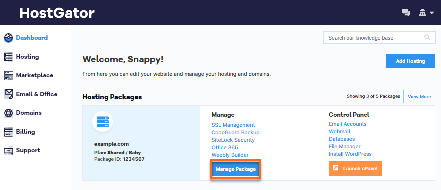 Hostgator Customer Portal Hosting Menu Option