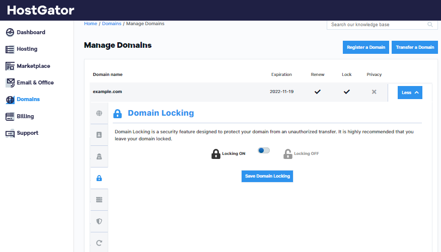 HostGator Customer Portal Domains Locking Options
