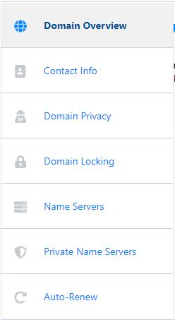 HostGator Customer Portal Domains Side Menu