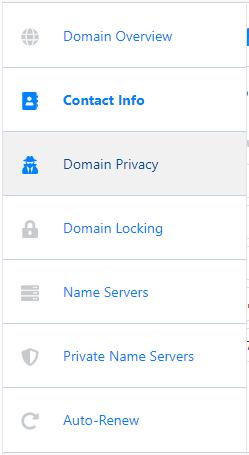 HostGator Customer Portal Domains Privacy Menu