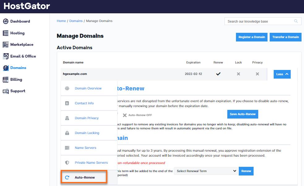 HostGator Customer Portal Domains Auto-Renew