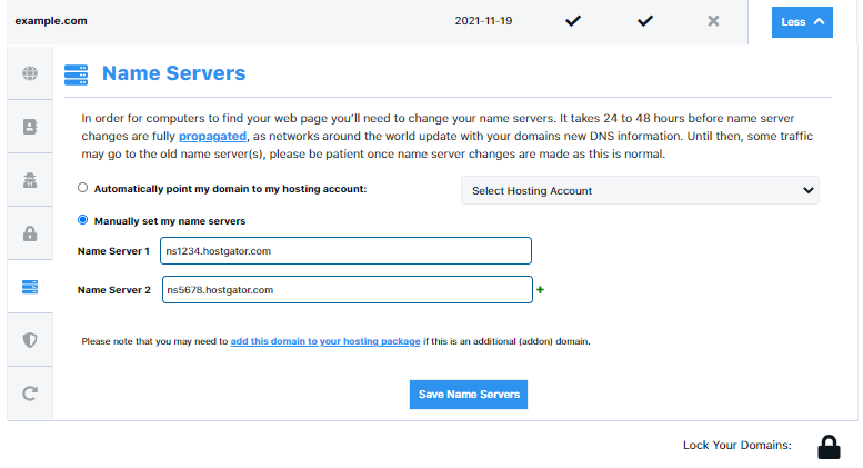 Set Domain Name Servers