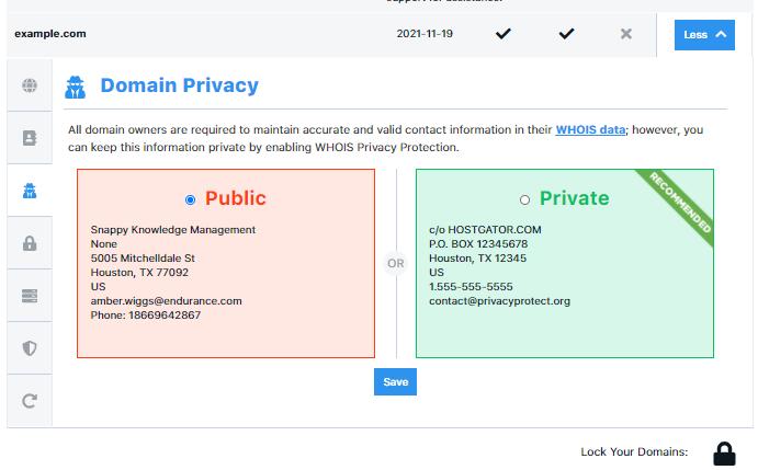 HostGator Customer Portal Domains Privacy Configuration