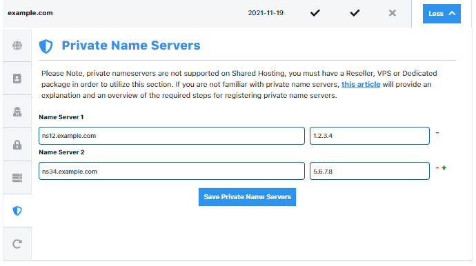 HostGator Customer Portal Domains Private Name Server Configuration