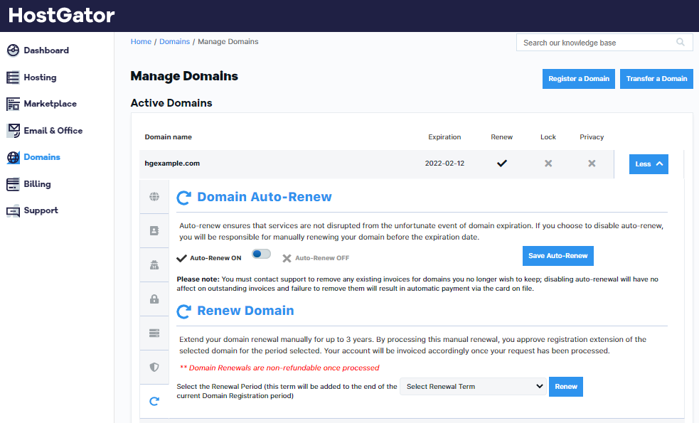 how to set up domain auto renewal with hostgator