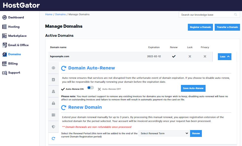 HostGator Customer Portal Domains Renewal Options