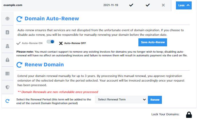 HostGator Customer Portal Domain Auto-Renewal Options