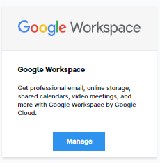 Manage button on G Suite Card