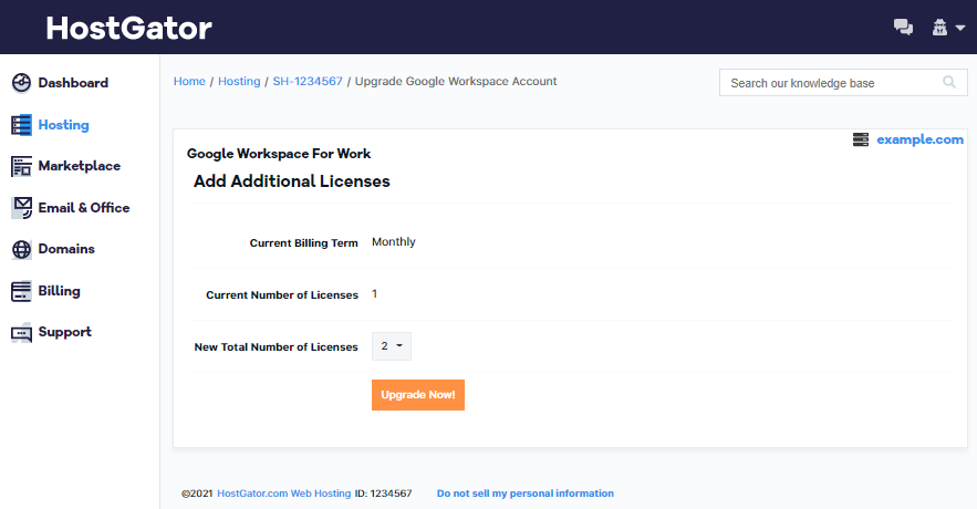 G Suite Select Number of Upgrade Licenses