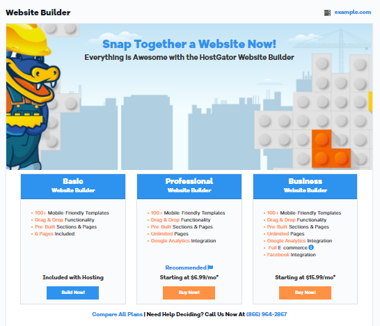 HostGator Customer Portal Add Website Builder