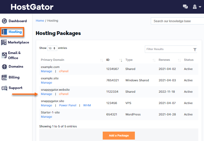 Hosting Packages on Account
