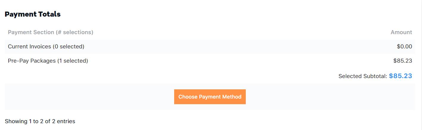 Customer Portal - Payment Totals