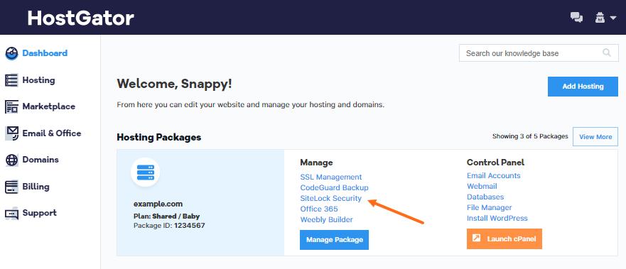 HostGator Billing Portal Landing Page