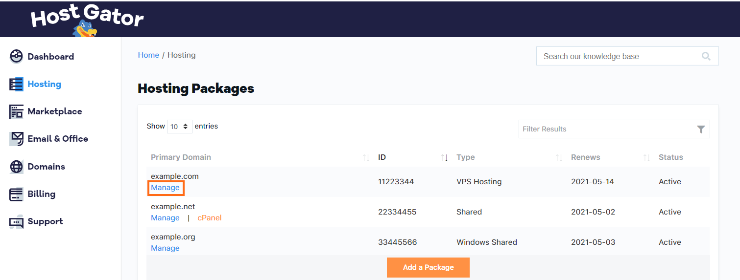 Customer Portal Manage VPS Package
