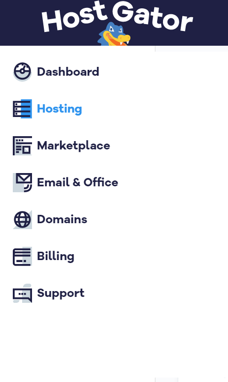 Billing Portal Side Bar Menu