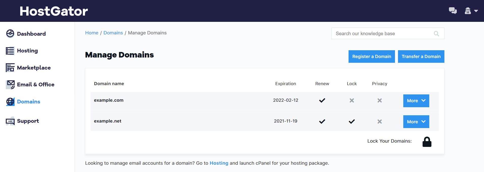 HostGator Customer Portal Manage Domains