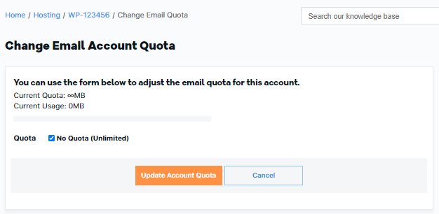OWP Email Accounts - Change Quota