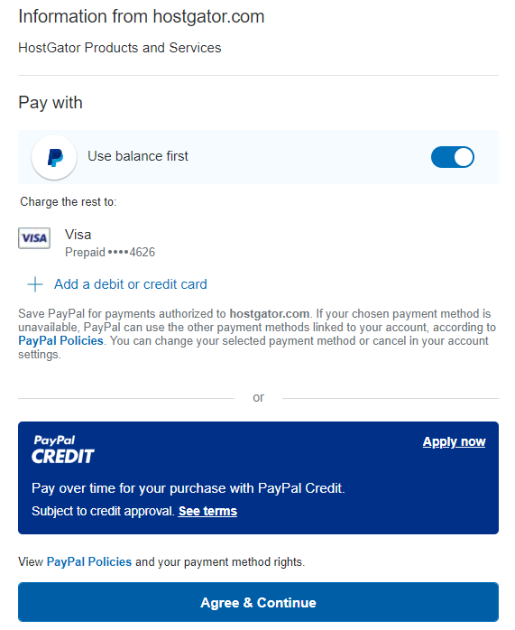 PayPal Billing Agreement agreement page
