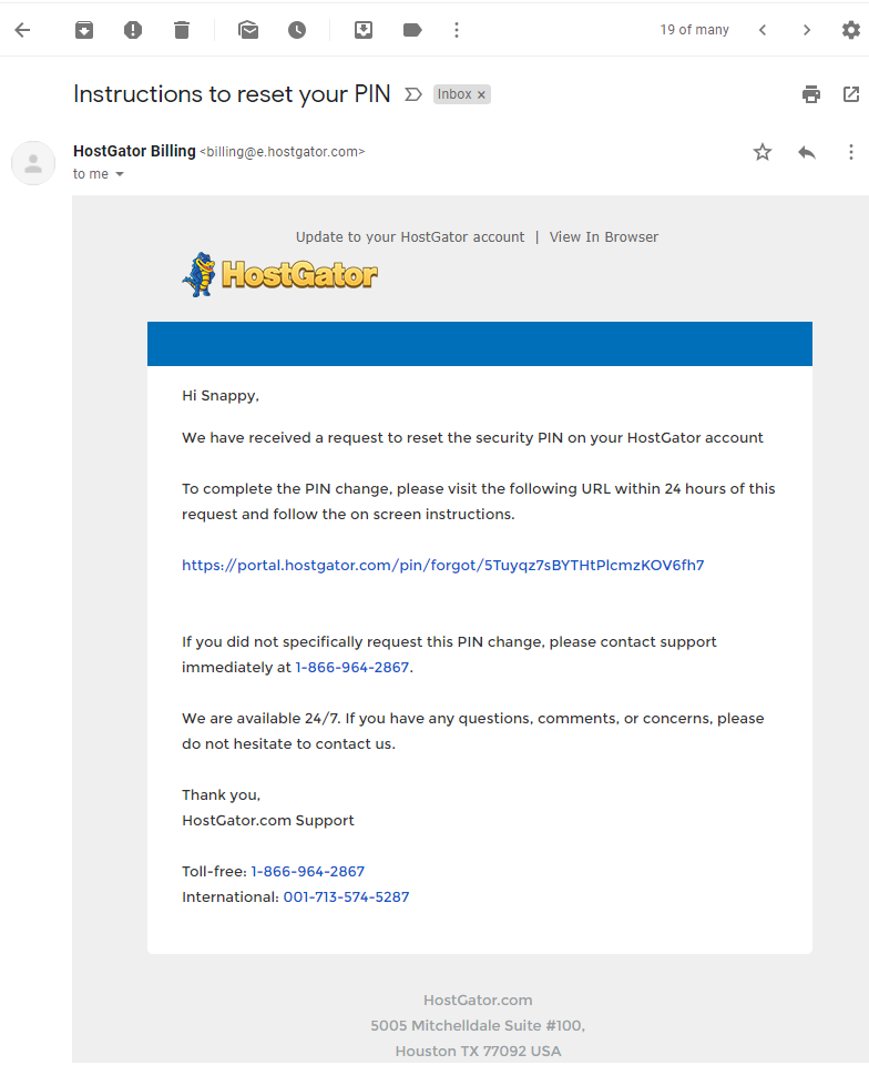 HostGator Customer Portal - Email Success Message