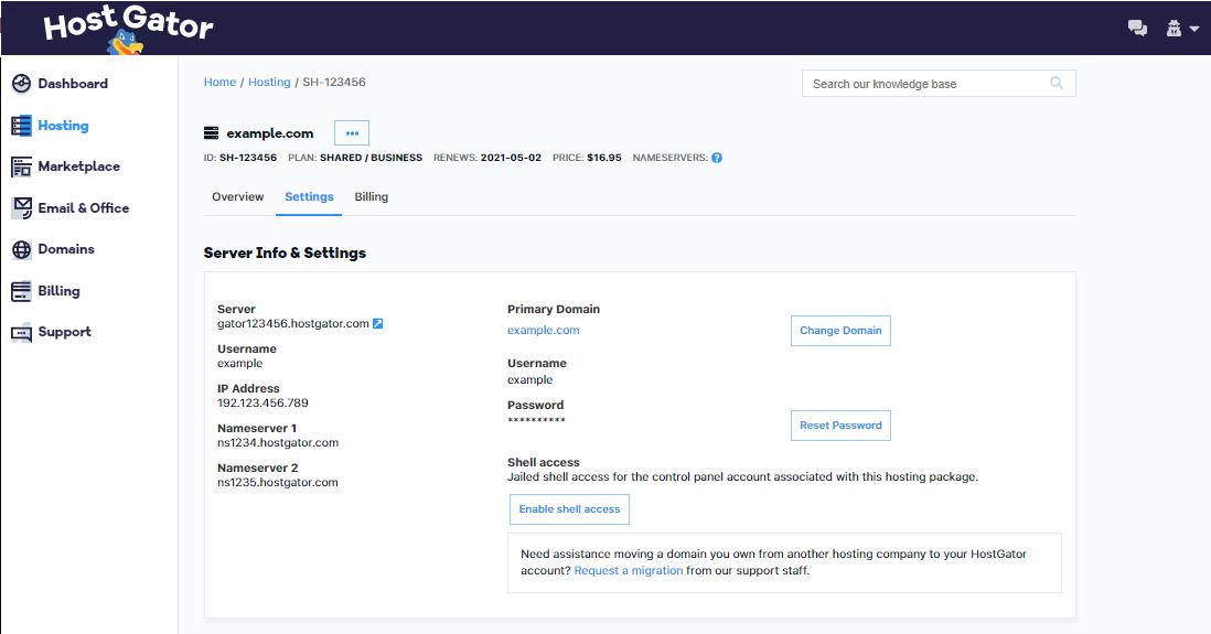 Customer Portal - Settings Tab