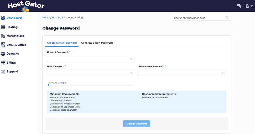 HostGator Customer Portal Change Password Section