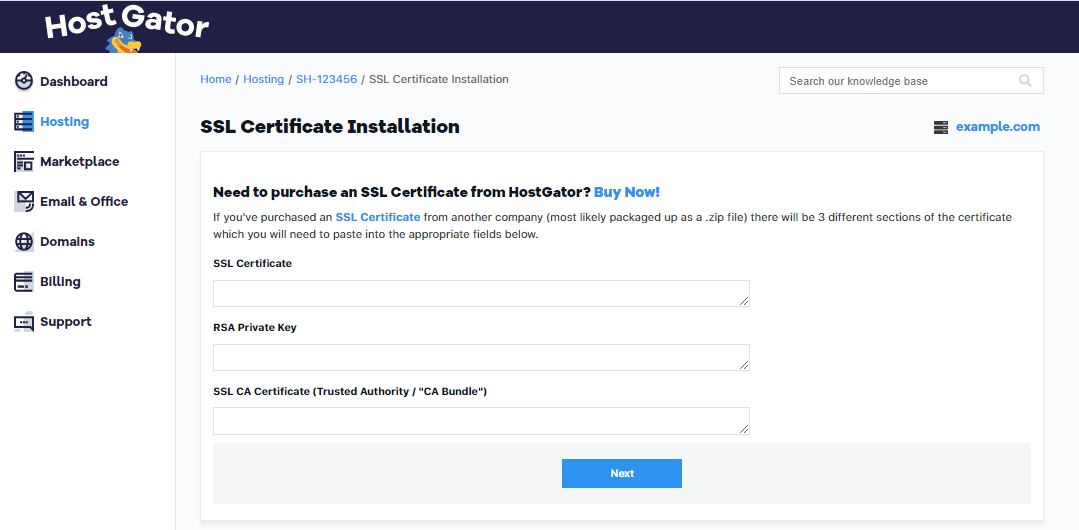 HostGator Portal v2 Install Third-Party SSL
