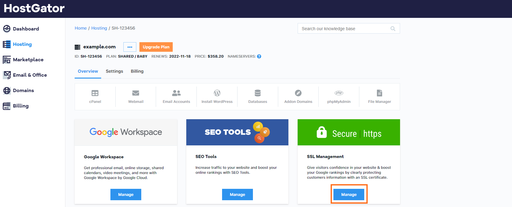 HostGator Billing Portal Marketplace