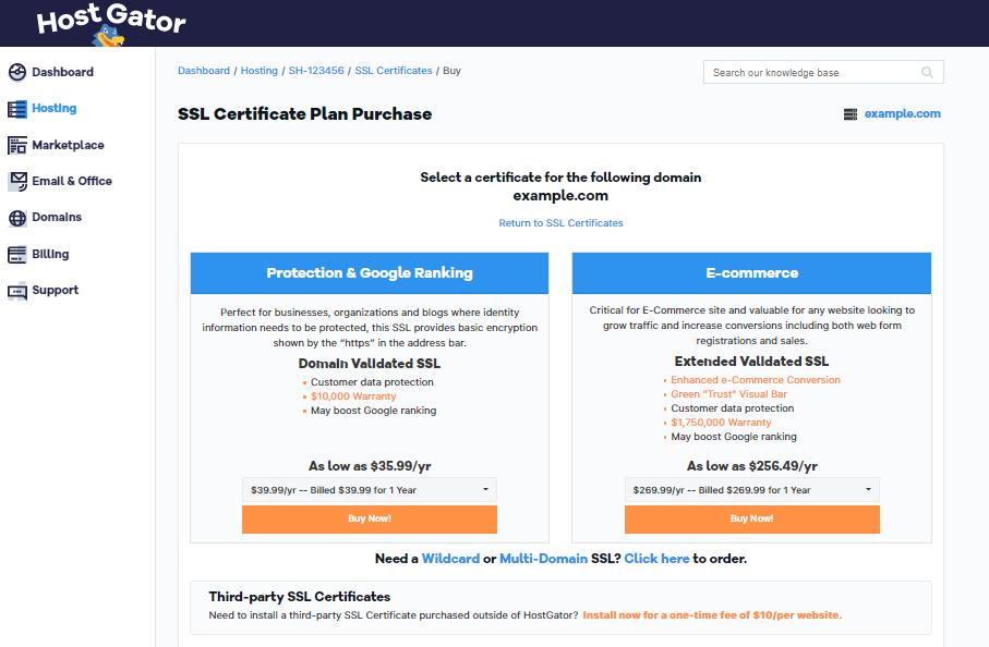 HostGator Customer Portal Select SSL Options