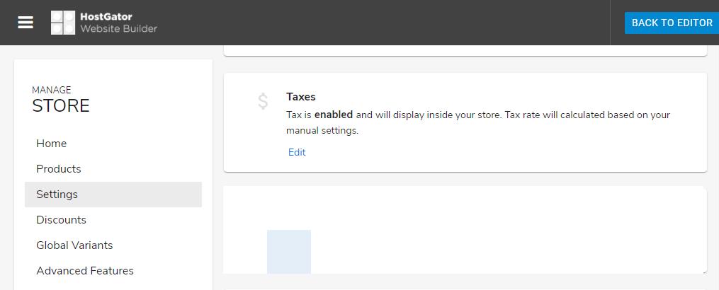 Hostgator website builder store settings for taxes