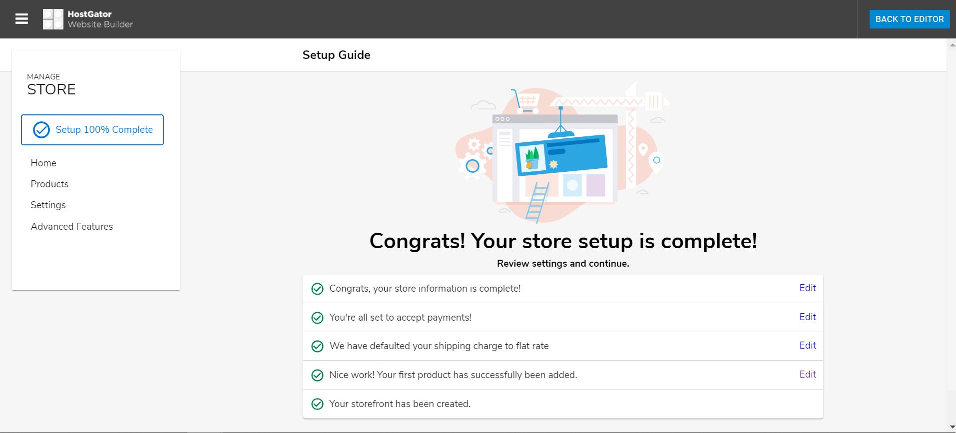 Hostgator website builder store dashboard after settings configured