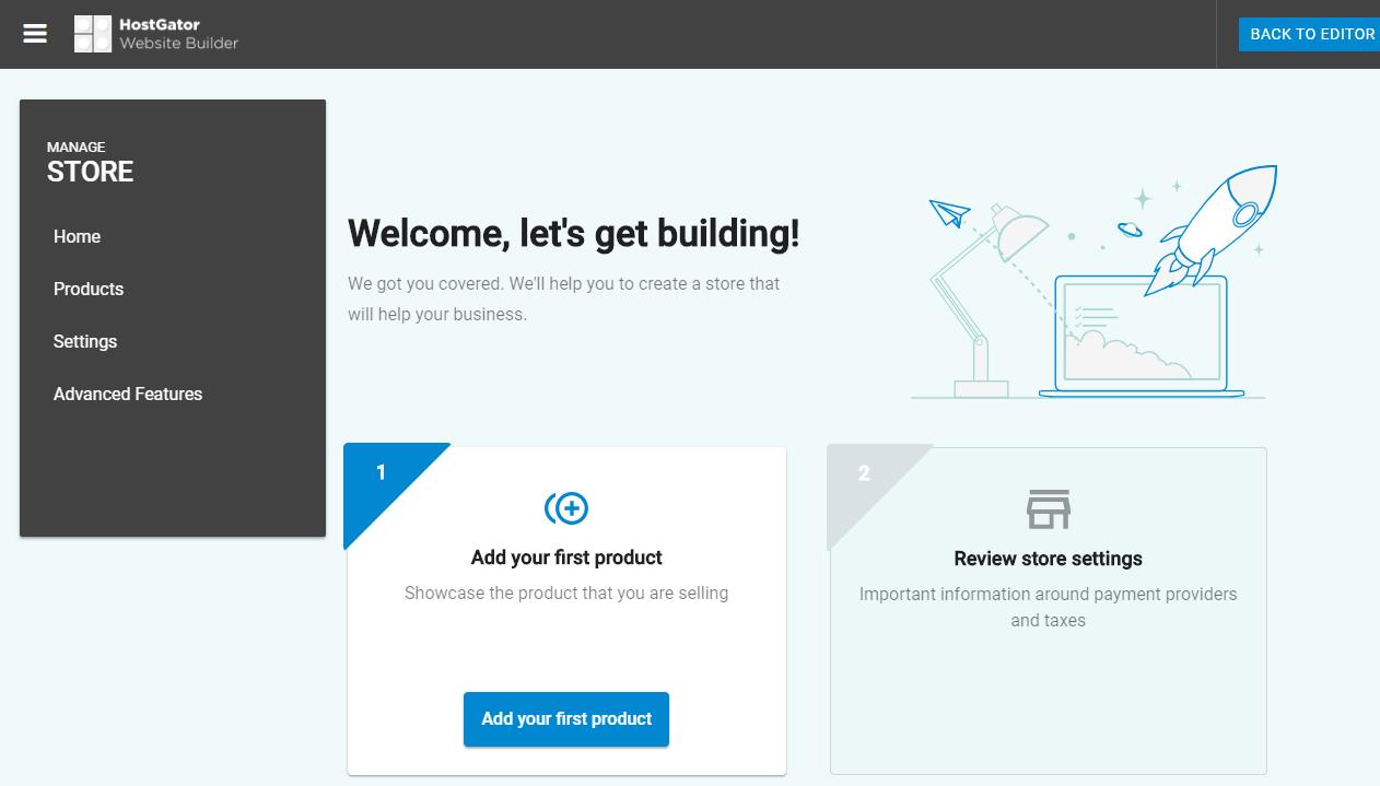Hostgator website builder store bashboard welcoming installation page