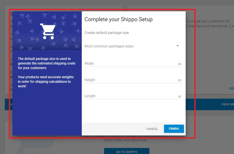 Hostgator website builder Shippo set default package size