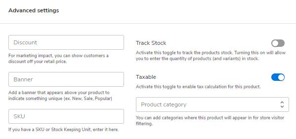 Hostgator website builder advanced settings for product