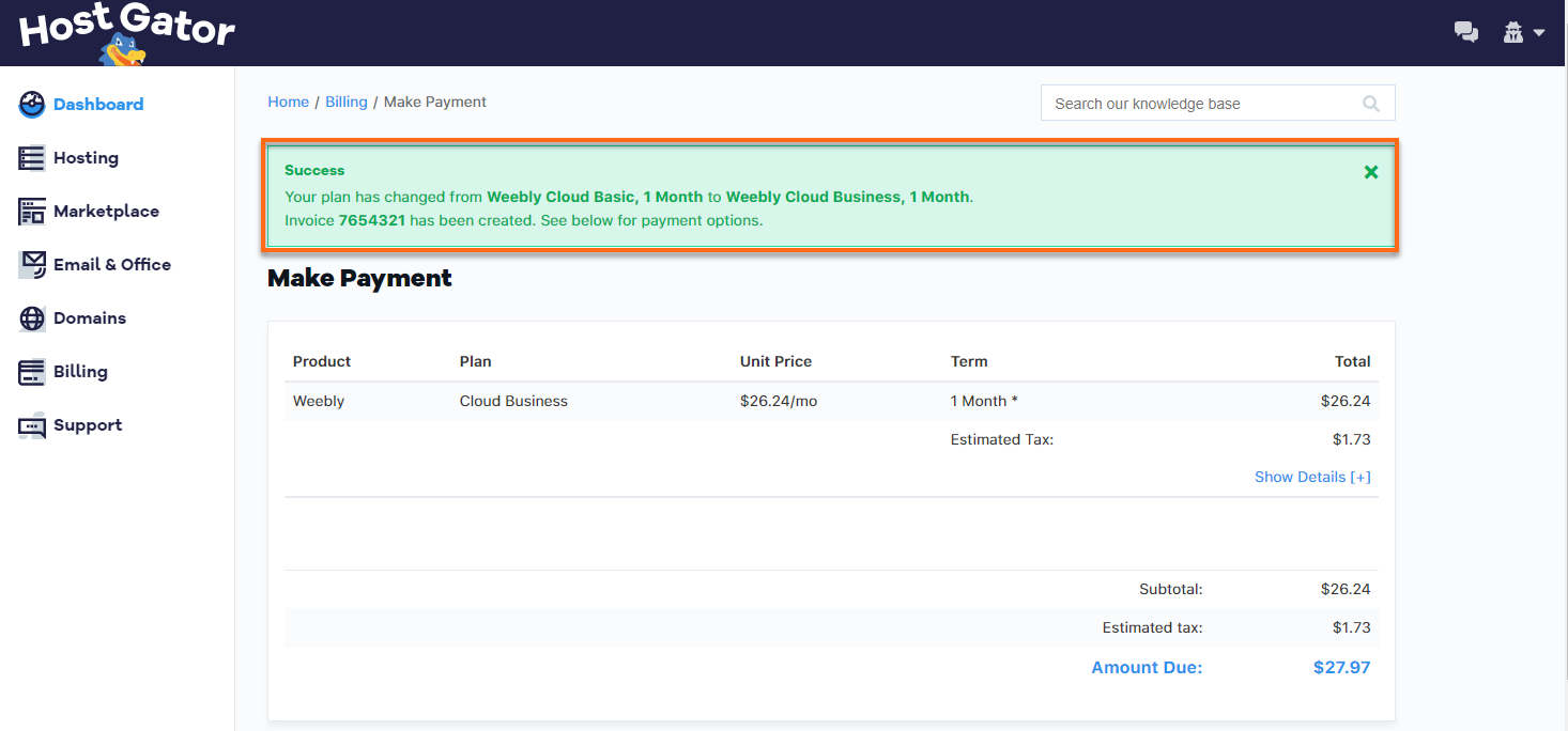 Customer Portal - Weebly Upgrade Invoice