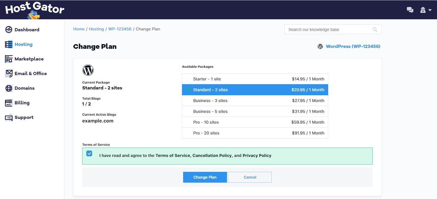 Managed Wordpress Change Plan Button