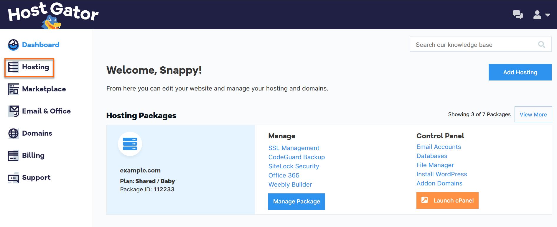 HostGator Customer Portal Hosting Tab